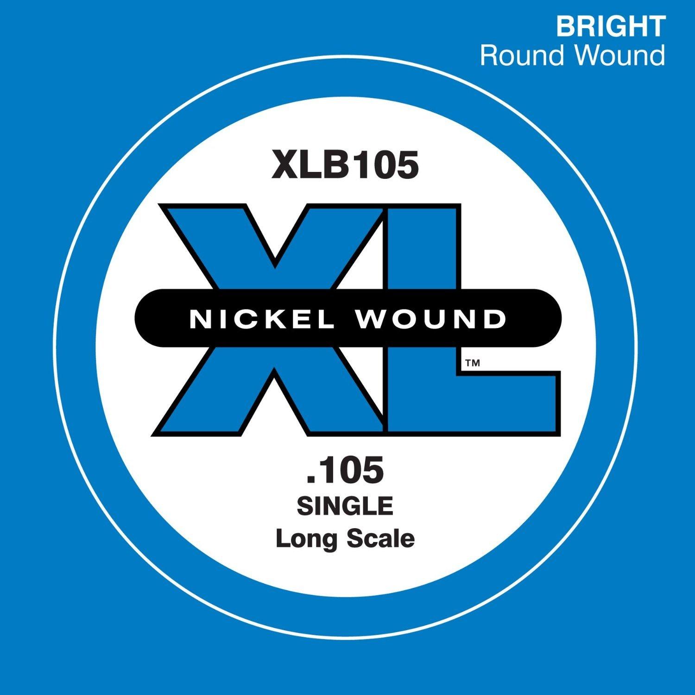 D'Addario XLB105 Nickel Wound Bass Guitar Single String, Long Scale, .105 D'Addario &Co. Inc