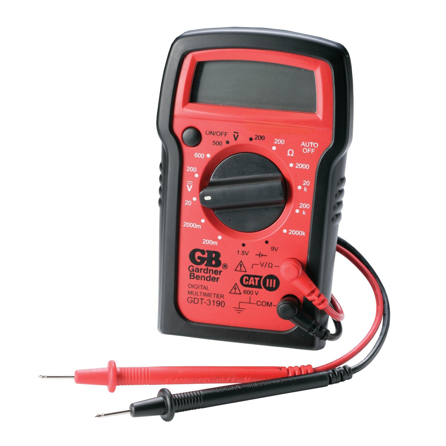 Gardner Bender GDT-3190 Digital Multimeter, 4 Function, 14 Range, Tests AC/DC Voltage, Resistance, and Battery, Manual Ranging, Auto-Off, 1/Each