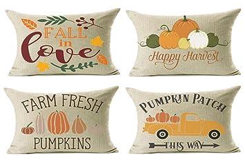 Amazon.com: Lanpn Fall Decor Fundas de almohada, decorativas ...