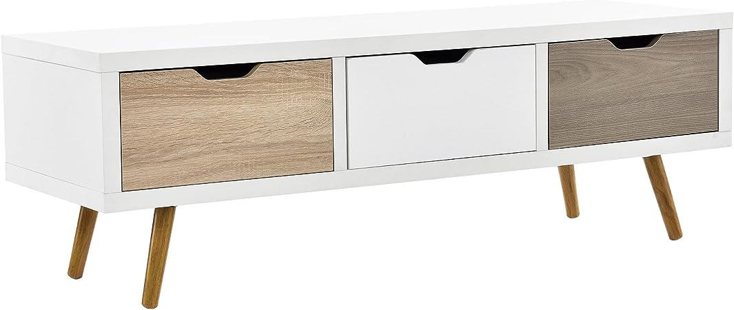 en.casa] Mesa de TV-/ Lowboard/Mueble de televisión con 3 cajones ...