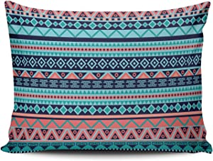 WULIHUA Throw Pillow Covers Aqua Mint and Turquoise Coral and Blue Aztec Tribal Boudoir Outdoor Cushion Cover Pillowcase Size 12x20 inch Double Sided Printed Chic Fashion Design