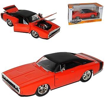 4ca3dcd15b25 alles-meine.de GmbH Dodge Charger R T Rot Orange Coupe 1970 Muscle Cars  Tuning 1 24 Jada Modell Auto mit individiuellem Wunschkennzeichen  Amazon.de   ...