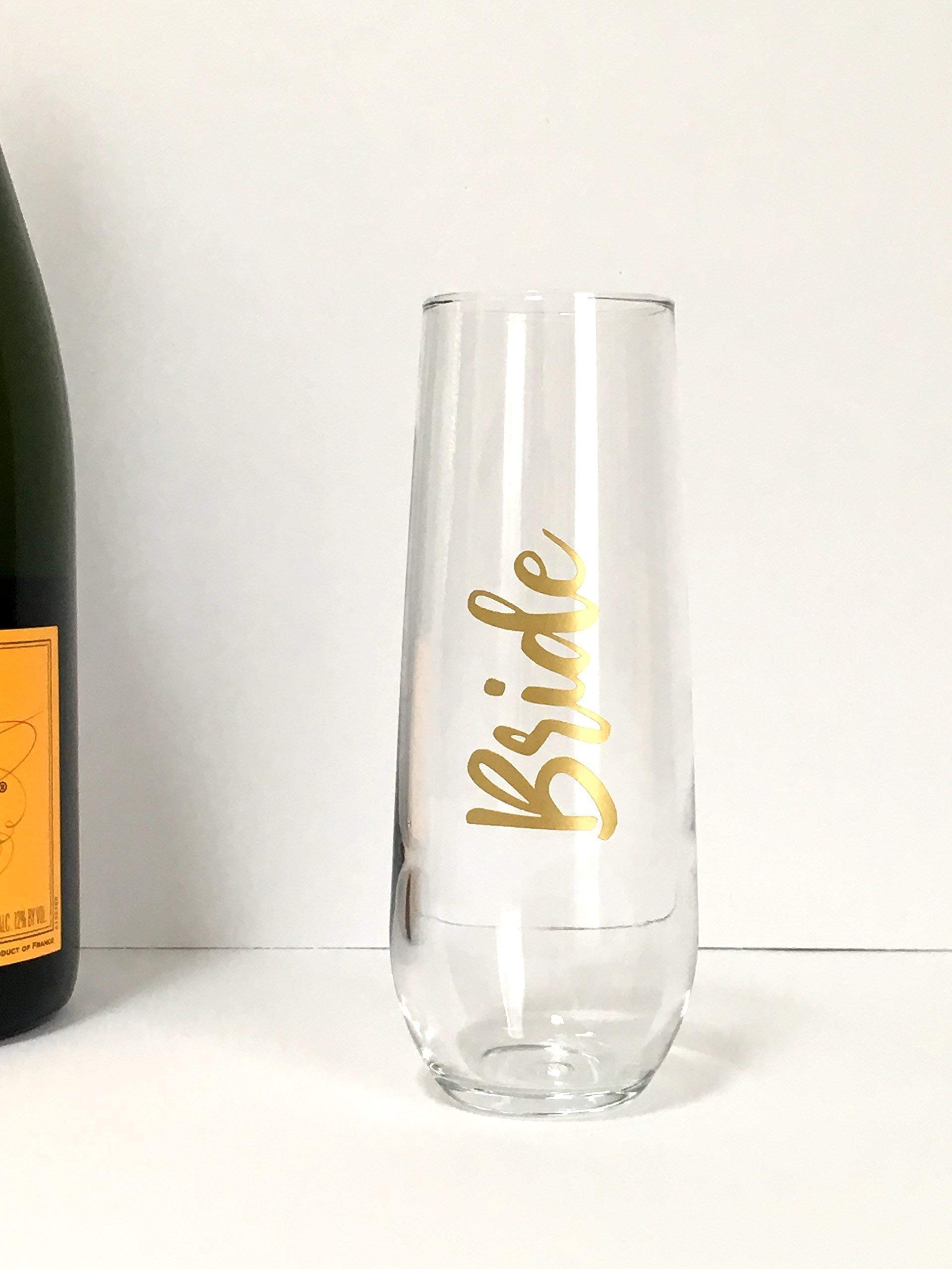 Lillian Rose G116 MS Gold Mrs Yellow Holds 8 oz Stemless Champagne Glass