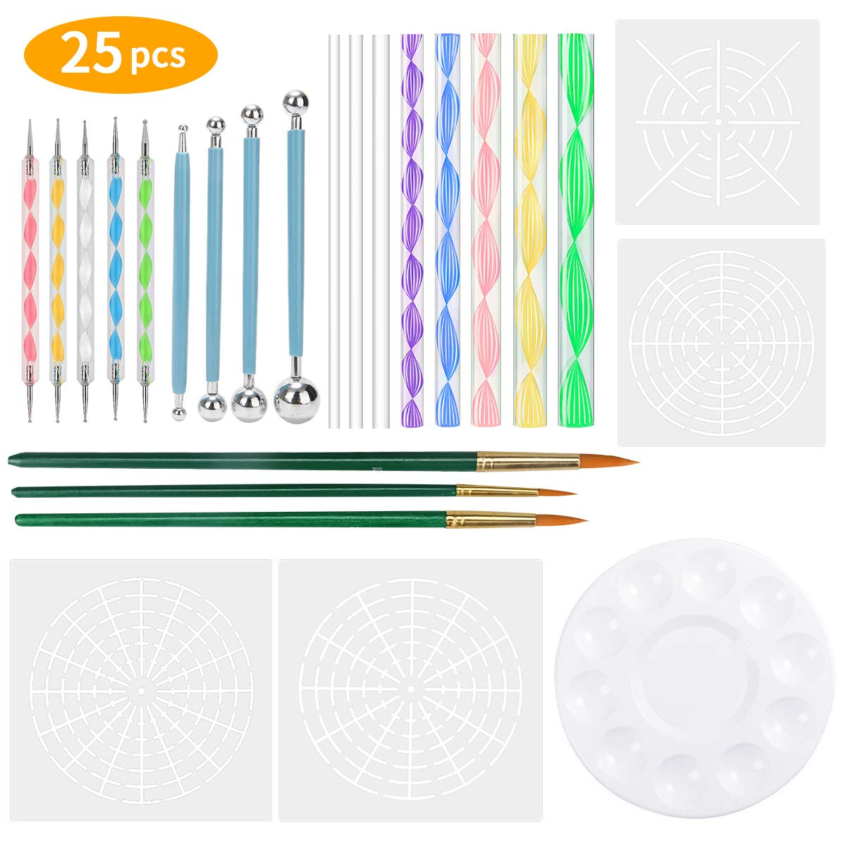 LINGSFIRE Mandala Dotting Tools Set Art Painting Pen Dotting Tools for Painting Rocks Coloring Drawing with Mandala Stencil, Dotting Pens, Paint Tray, Brush and Modeling Tools for Kids' Crafts (25PCS)