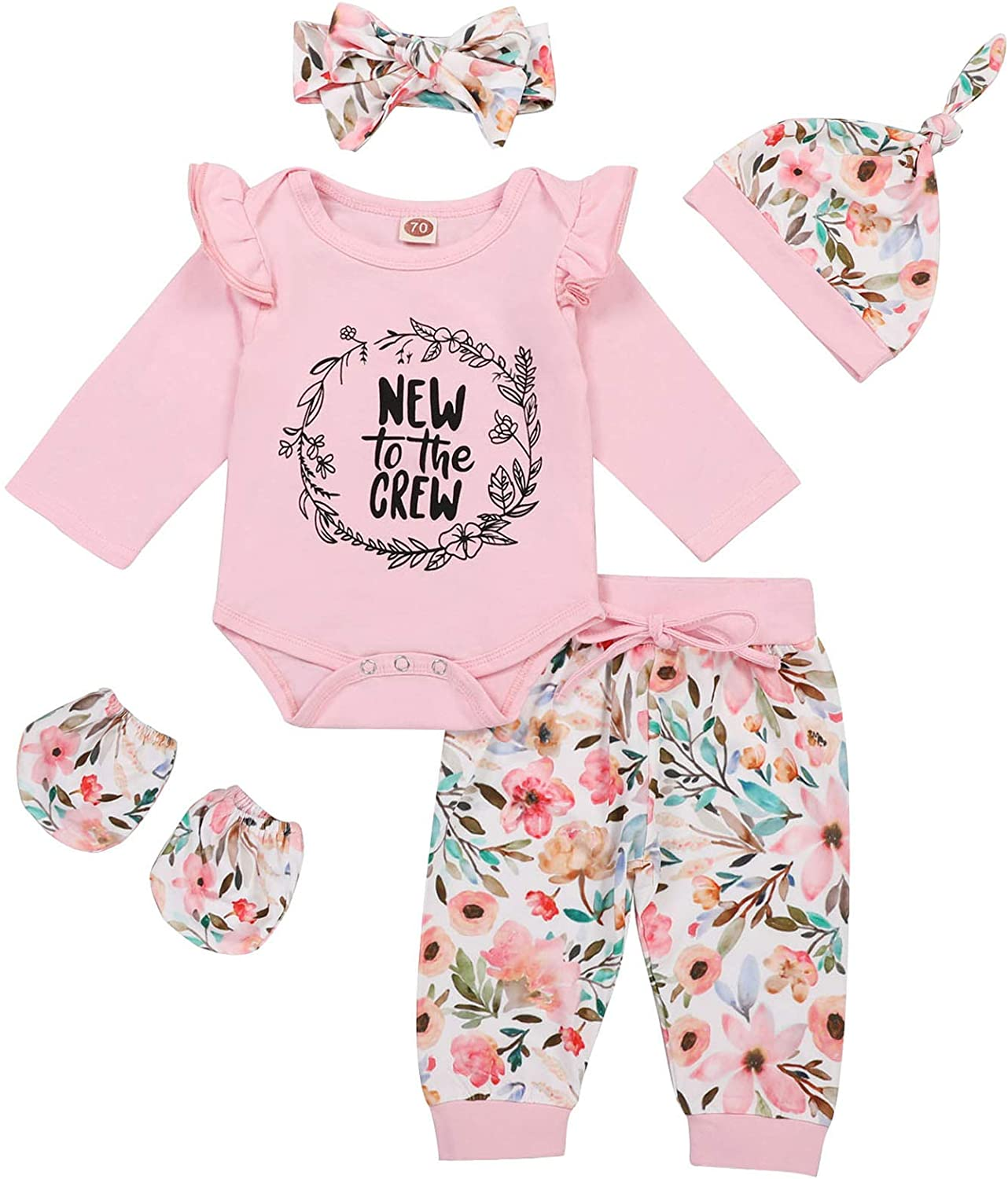 Newborn Baby Girl Outfits Daddy's Little Girl Letter Print Romper+Floral Pants+Hat+Headband+Gloves 5PCS Clothes Set