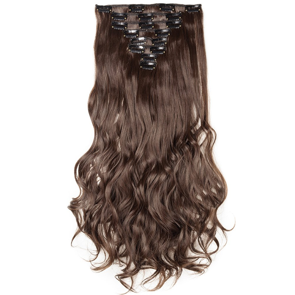 Clip in Hair Extensions Synthetic Full Head Charming Hairpieces Thick Long Straight 8pcs 18clips for Women Girls Lady (24 inches-wavy, medium brown) by Beauti-gant (Image #2)