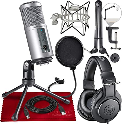 Podcast Podcasting Microphone+Headphones+Boom Arm Audio Technica AT2020USB