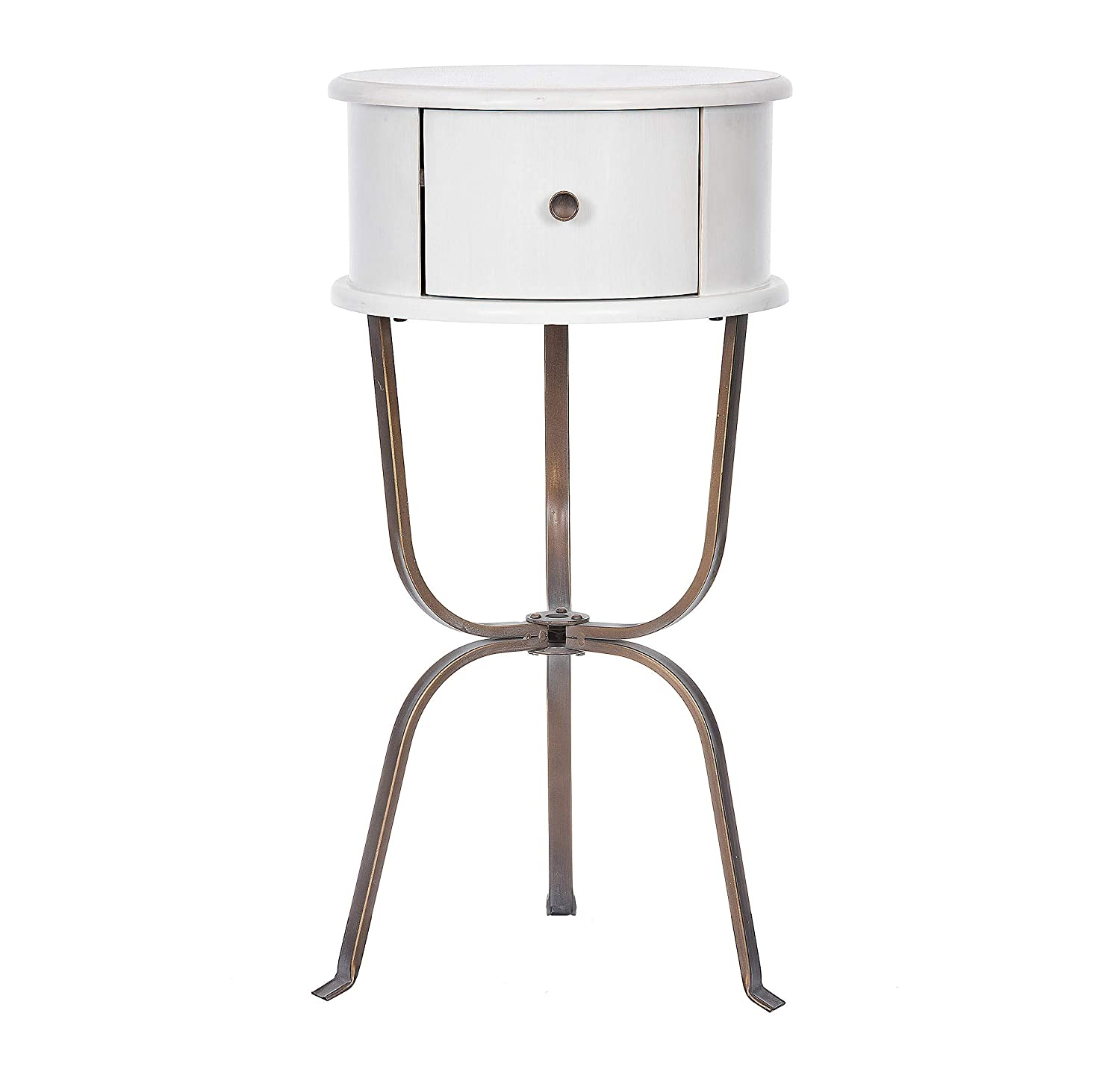 Round Whitewashed Wood And Bronze Metal Side Accent Table Includes Storage Drawer For A Dinning Living Or Bedroom 24l X 14w X 24h Inches Amazon In Home Kitchen