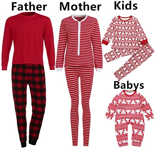 80c943bbf53a Amazon.com: Family Matching Pajamas Sets Christmas Pajamas Outfit Plaid Holiday  Clothes PJ Sets Mom Dad Kids Boys Girls Sleepwear: Clothing