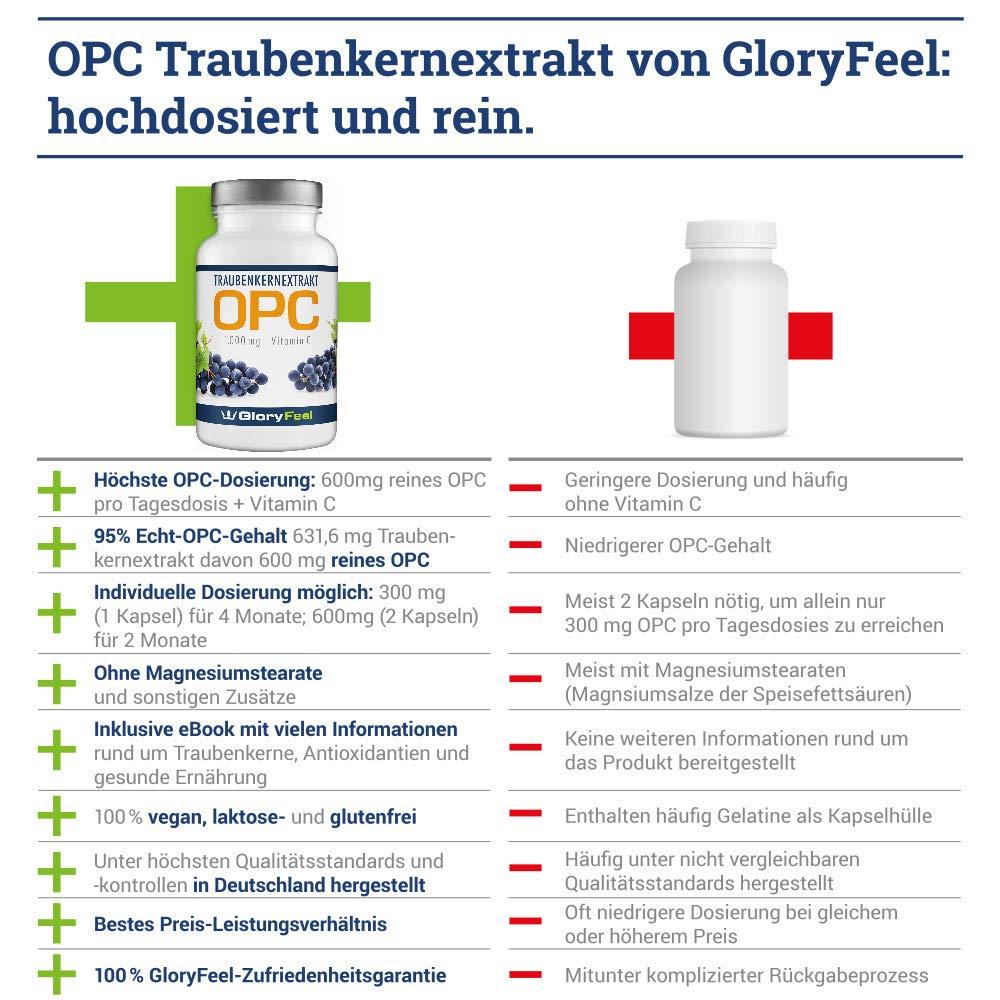OPC Extracto de Semilla de Uva - 120 cápsulas de OPC veganas y concentradas. OPC puro + Vitamina C - 100% antioxidante natural, 2 meses de provisión.