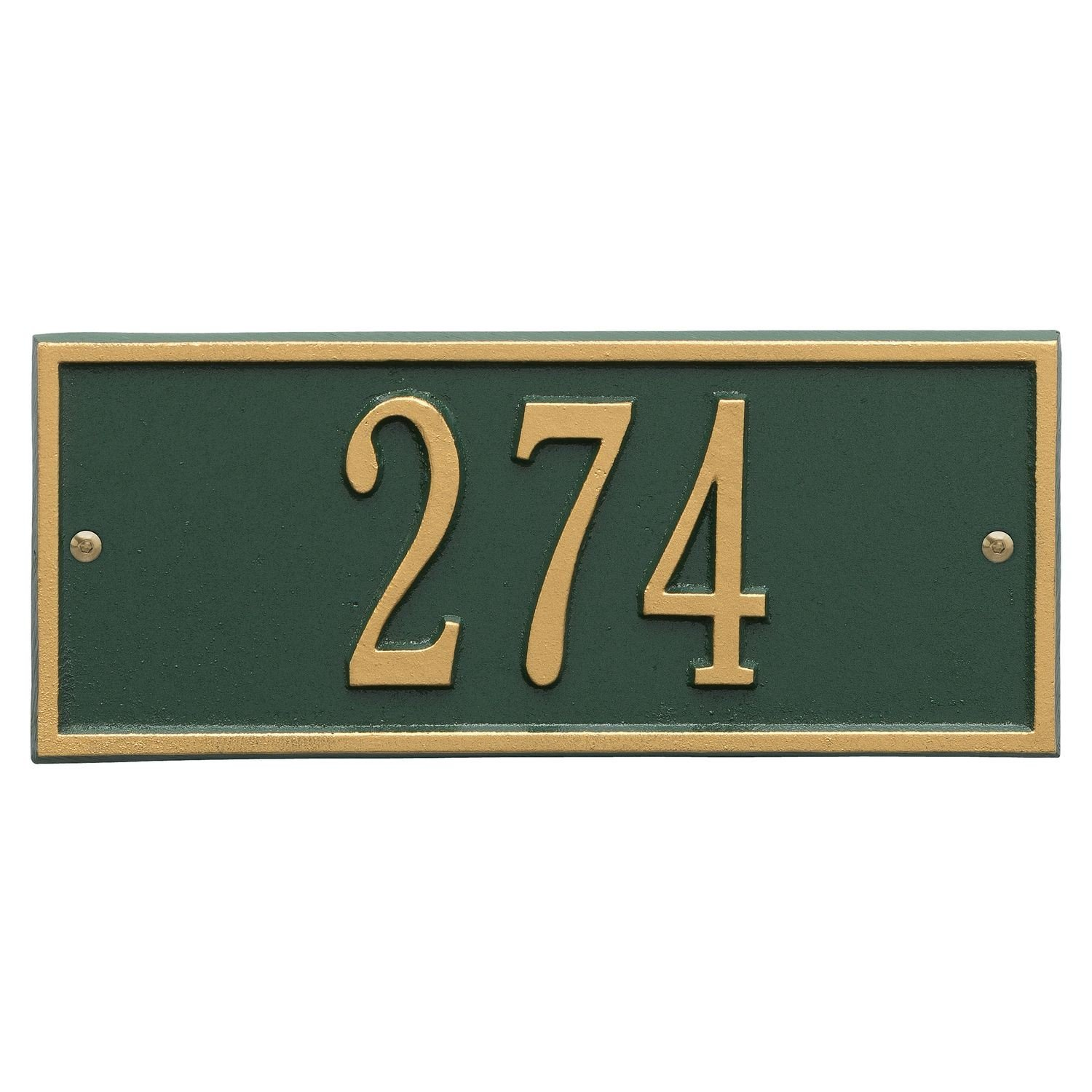 Whitehall Personalized Cast Metal Address Plaque - Small Hartford Custom House Number Sign - 10.5'' x 4.25'' - Allows Special Characters - Green/Gold