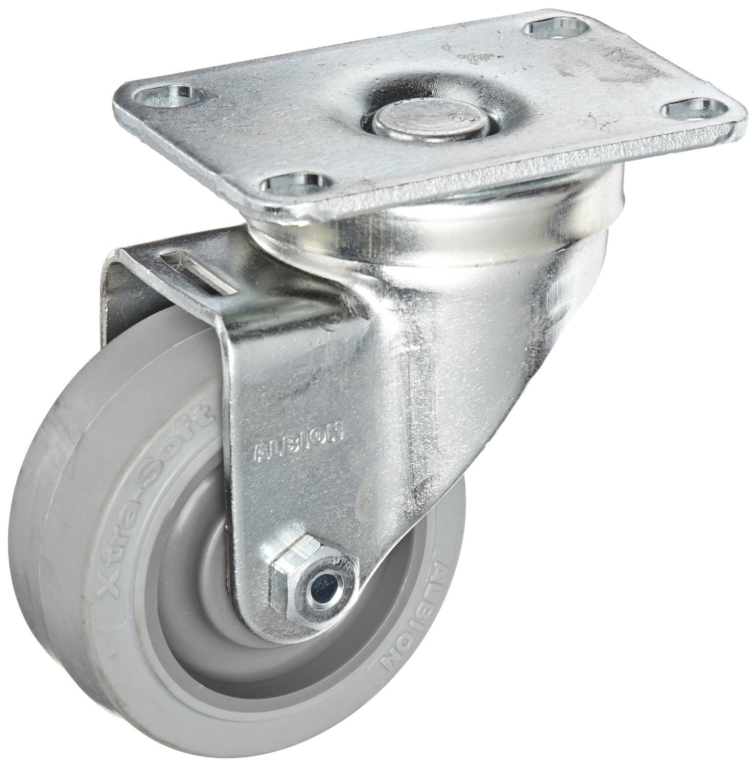 Albion 04XS03051S 3'' Diameter X-tra Soft Rubber Wheel Light Duty Stainless Steel Swivel Plate Caster, Flat Tread, Two Piece Delrin Bearing, 3-5/8'' Length x 2-1/2'' Width Base Plate, 200 lb. Capacity by Albion
