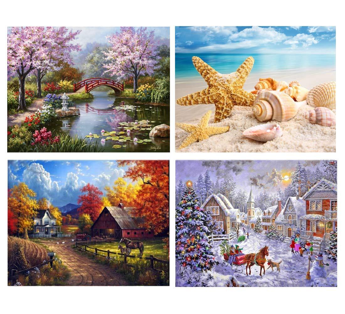 SanerDirect 4 Pack 4 Seasons 5d Diamond Painting Kits, Landscape Full Drill Paint with Diamonds 12x16 inches by SanerDirect