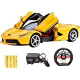 Zest 4 toyz Gravity Sensing Steering Remote Control Ferrari R/C Car with Openable Doors and Rechargable Batteries (Yellow)