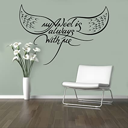 My Angel Always with Me Wall Decal Motivational Quotes Wall Sticker Home  Wall Art Decor Ideas Bedroom Interior Removable Living Room Design 16(aws)