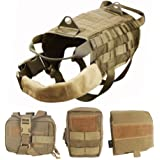 WOpet Tactical Dog Molle Vest Harness Training Dog Vest with Detachable Pouches