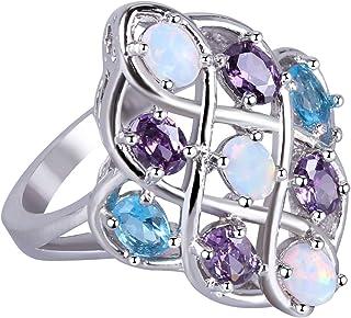 KELITCH Multi Gemme Violet Bleu Cristal Opale Synthèse Wrap Bague Sterling Plaqué Argent 925
