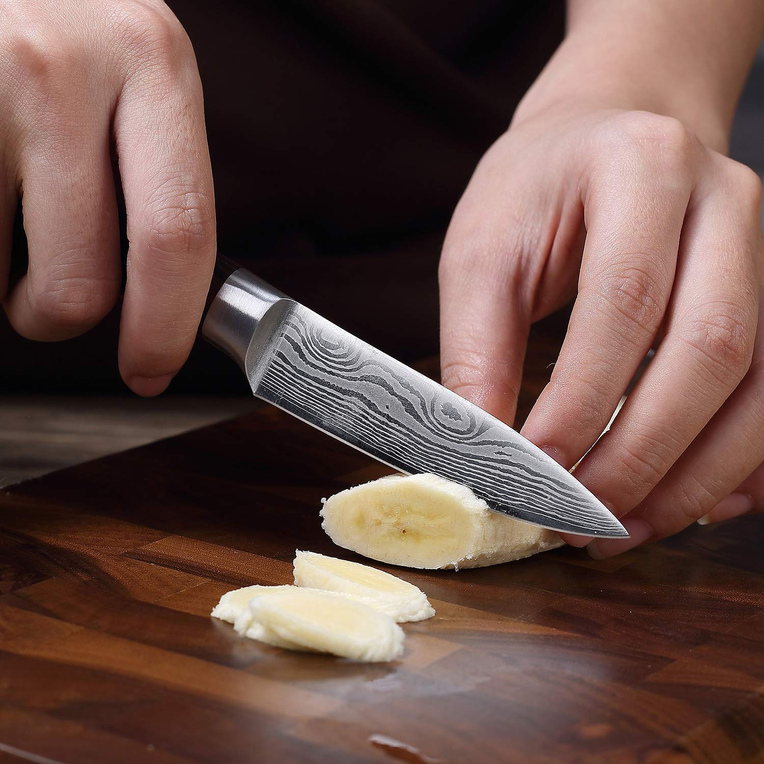 Paring Knife - PAUDIN 3.5 Inch Kitchen Knife N8 German High Carbon Stainless Steel Knife, Fruit and Vegetable Cutting Chopping Carving Knives by PAUDIN (Image #3)