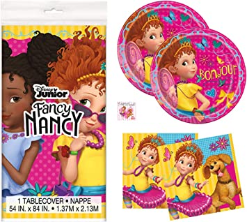 Fancy Nancy Birthday Party Supplies Set - Tablecover Decoration, Plates, Napkins and Sticker (Standard - Serves 16)