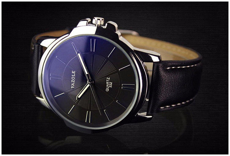 Amazon.com: LinTimes Fashion Elegant Mens Watch Quartz Analog Business Leisure Wristwatch Black Band Black Dial: Watches