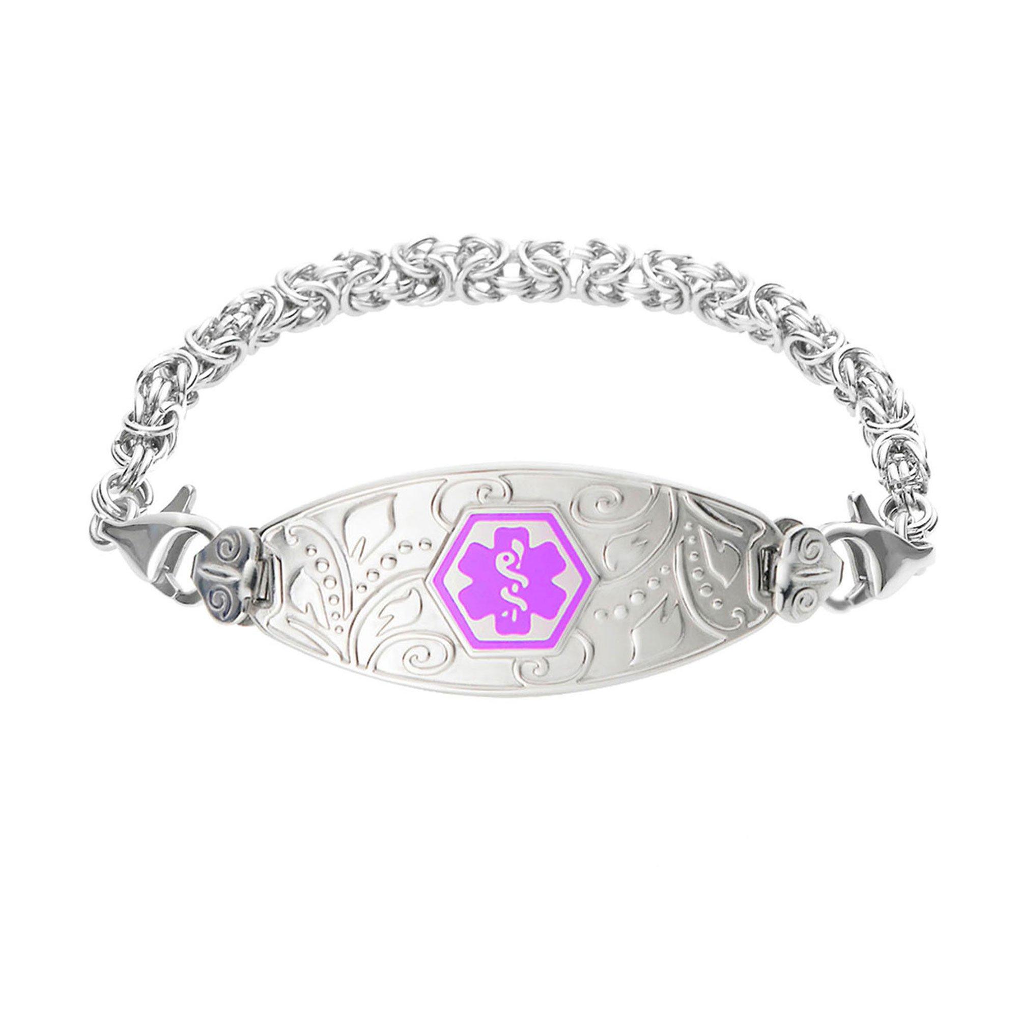 Divoti Custom Engraved Lovely Filigree Medical Alert Bracelet -Handmade Byzantine-Purple-6.5'' by Divoti (Image #1)