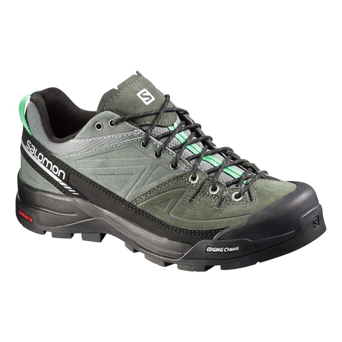 Salomon Women's X Alp LTR W Leather Hiking Sneaker B00ZLMX9PA 8 B(M) US|Light Tt, Night Forest, Jade Green