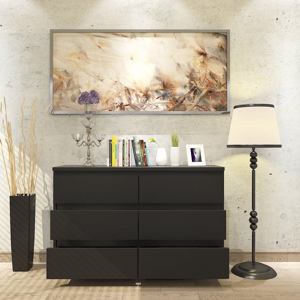 Panana Kommode Sideboards mit 6 Schubladen schwarz Hochglanz 120 x 38 x 78cm