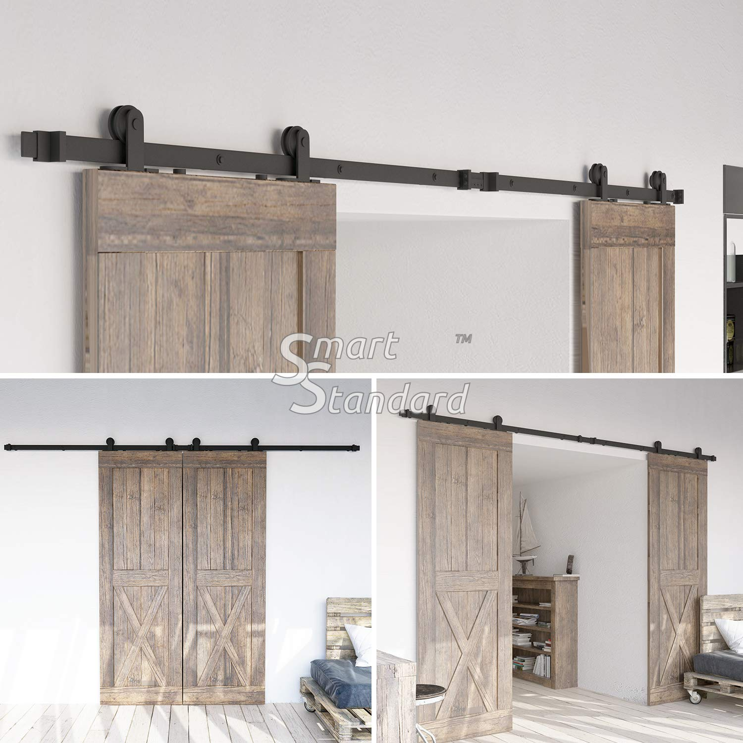 10ft Heavy Duty Sturdy Double Door Sliding Barn Door Hardware Kit - Super Smoothly and Quietly - Simple and Easy to Install - Includes Step-by-Step Instruction -Fit 30'' Wide Door Panel(T Shape Hanger) by SMARTSTANDARD (Image #2)