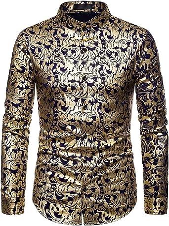 Camisa de Manga Larga para Hombre, diseño Hipster, Color Dorado y Rosa Azul Azul Marino S: Amazon.es: Ropa y accesorios