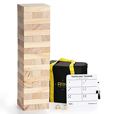 A11N Large Toppling Tower Game | 54 Oversized Blocks, Starts at 1.5 Feet Tall and Build to 3 Feet Tall | Wooden Stacking Yard Game with Carrying Bag, Rules Board, 2 Dice: Toys & Games