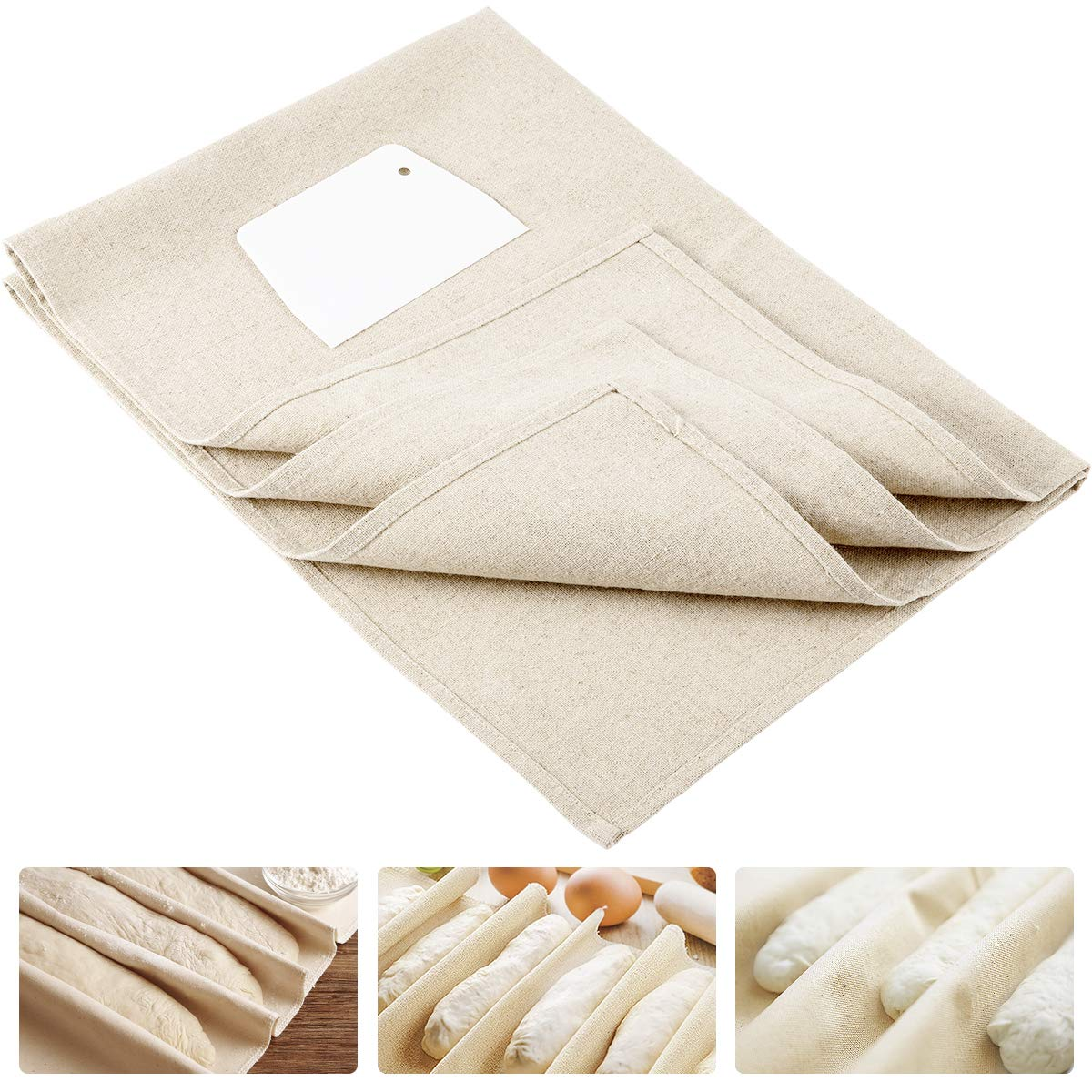 ANPHSIN Large Professional Bakers Dough Couche (35'' × 26'')- 100% Natural Flax Heavy Duty Linen Pastry Proofing Cloth for Baking French Bread Baguettes Loafs