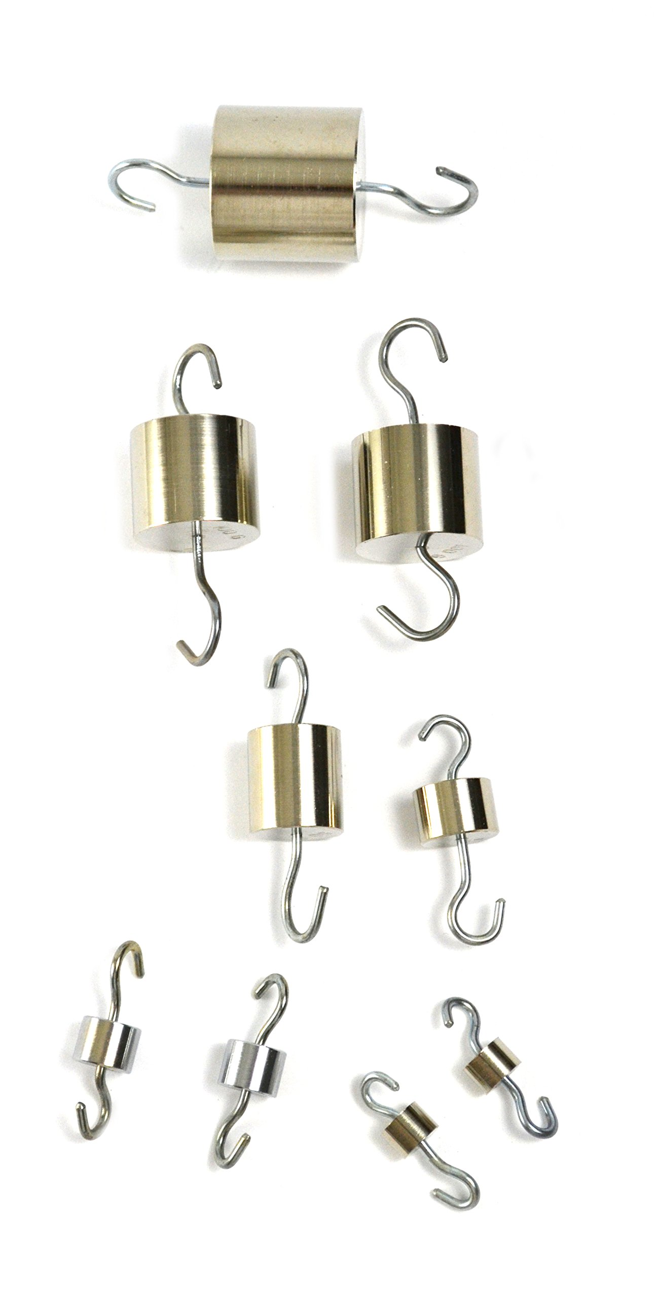 Eisco Labs Brass Cylinder Hooked Weights - Set of 9 total weight 500 grams