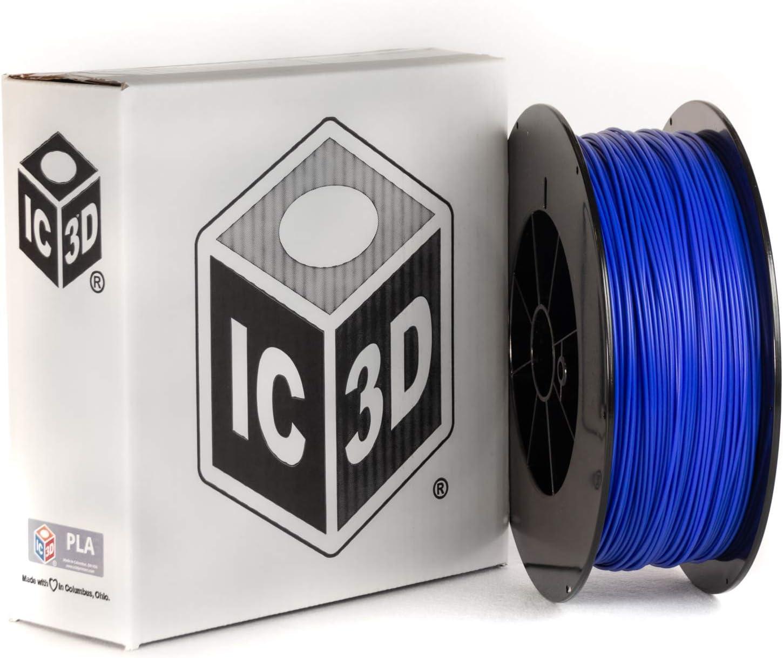 IC3D Blue 1.75mm PLA 3D Printer Filament - 2.5kg Spool - Dimensional Accuracy +/- 0.05mm - Professional Grade 3D Printing Filament - Made in USA