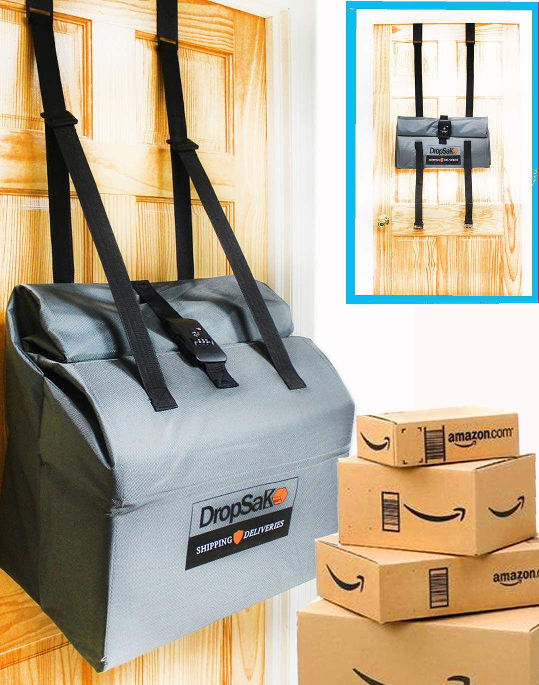 FIRST EVER! Secure Folding Package Theft Deterrent Drop Box/Mailbox with Lock by DROPSAK ULTRA. Works outside houses and inside apartment complexes too!