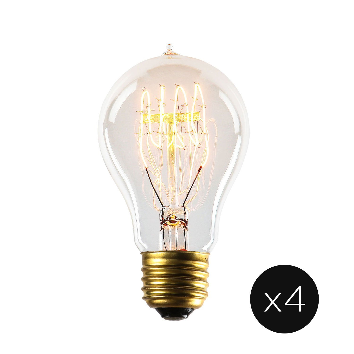 40W Edison Light Bulb A19 - Vintage Style Filament Bulbs, Fully Dimmable, E26 (Medium) Base, Warm White, Horizontal Spiral, Coney Island Collection - Set of 4