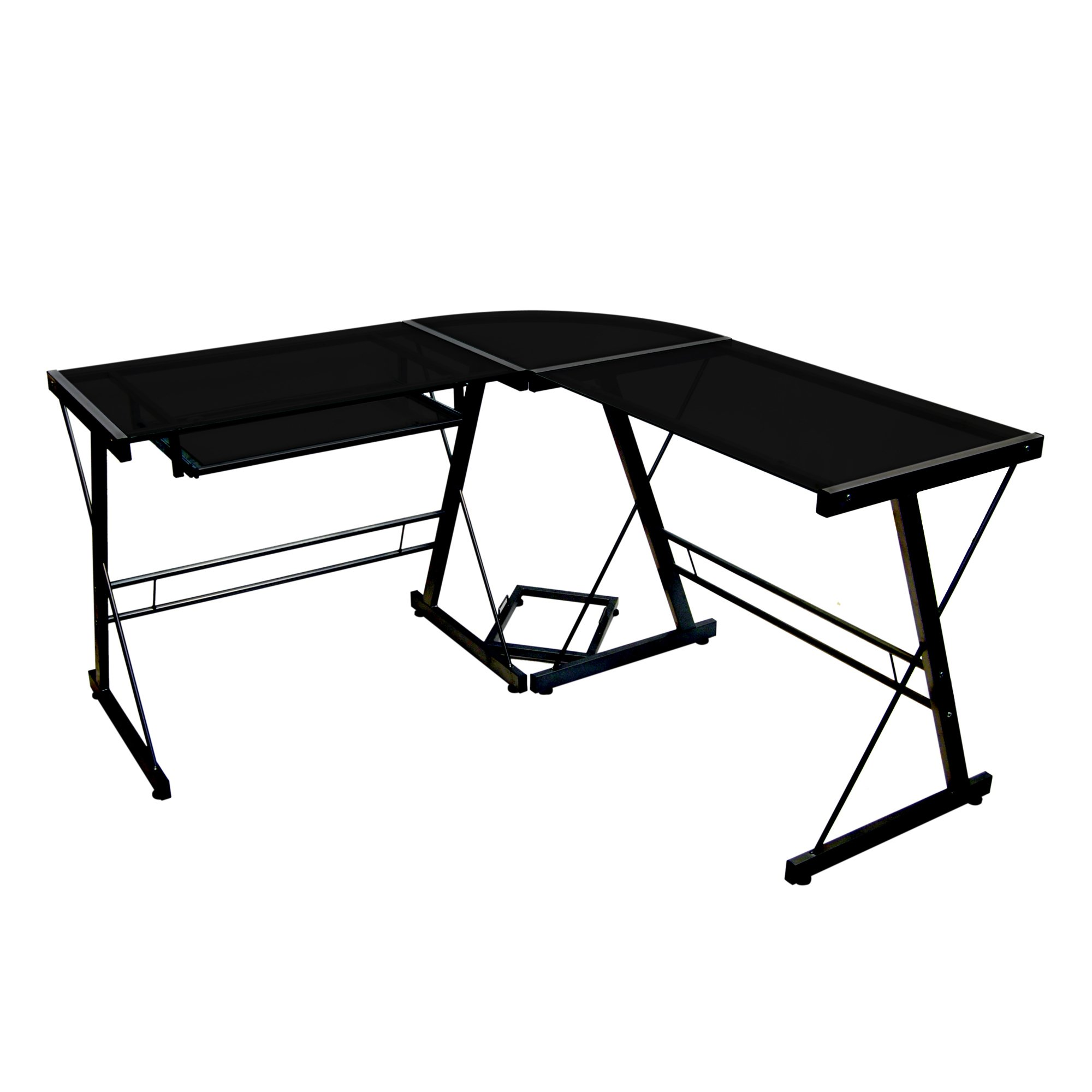 Walker Edison Soreno Modern 3-Piece Corner Desk for Home Office, Black Glass Contemporary Reclaimed Look by Walker Edison Furniture Company
