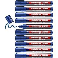 edding 300 permanente markeerstiften, blauw, 10 stiften, ronde punt 1,5-3 mm, waterbestendig, sneldrogend, veegvast…