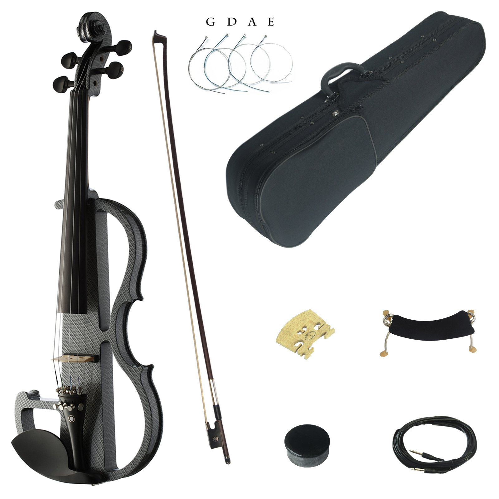 Kinglos 4/4 Black Grid Colored Solid Wood Advanced Electric / Silent Violin Kit with Ebony Fittings Full Size (DSG1311)