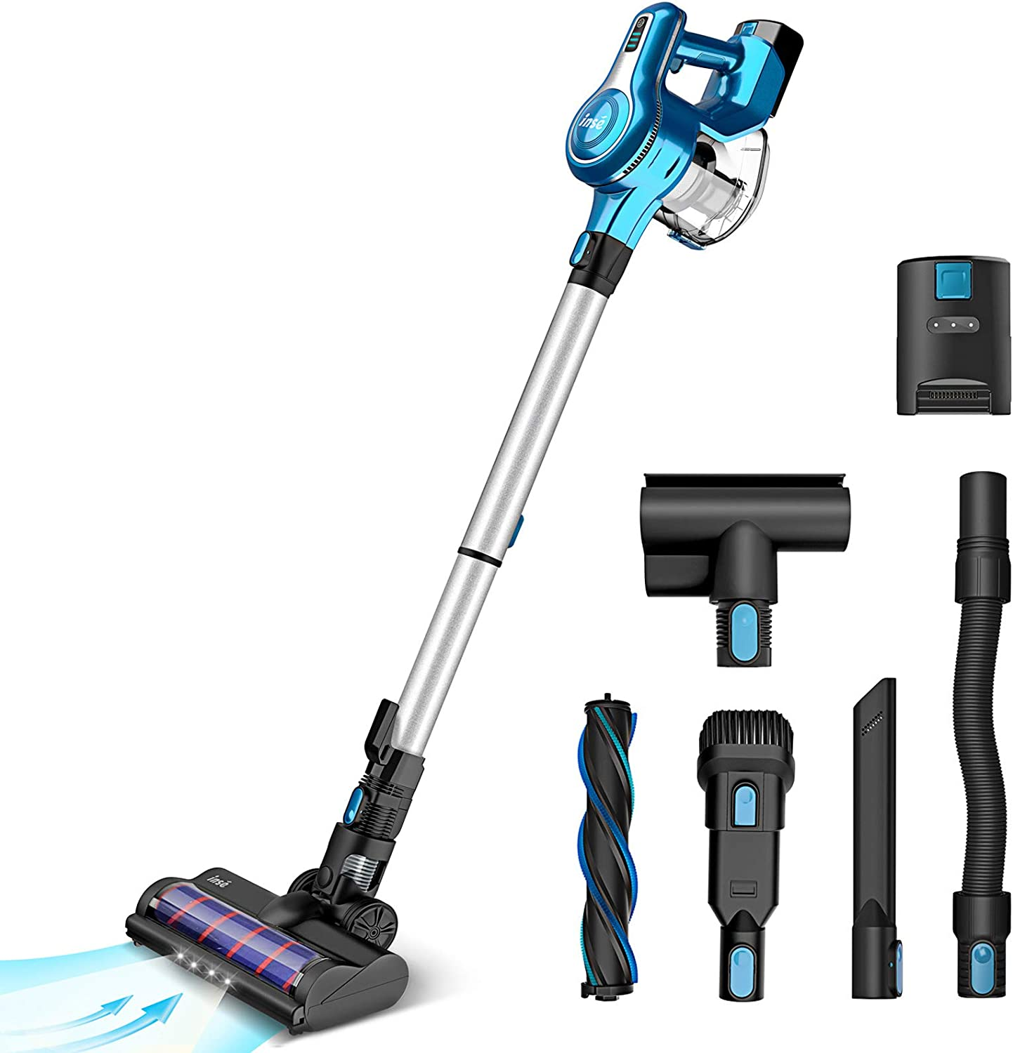 Cordless Vacuum Cleaner, 23Kpa 250W Brushless Motor Stick Vacume, Up to 45 Mins Max Runtime 2500mAh Rechargeable Battery, 5-in-1 Lightweight Handheld for Carpet Hard Floor Car Pet Hair