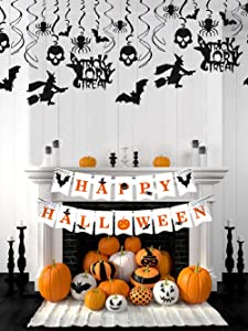 LaVenty Set of 2 Halloween Home Decor Haunted House Decorations Fall Halloween Party Bunting Rustic Halloween Banner Halloween Decor Halloween Party Sign Halloween Witch Decorations