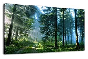 Green Forest Canvas Wall Art Living Room Wall Decor Long Nature Painting Large Canvas Artwork Contemporary Pictures Modern Landscape Green Trees Roads Sunrise Woods for Kitchen Office Home Decoration