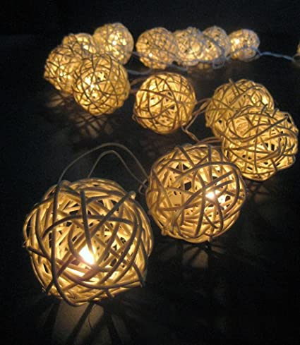 cheaper 5fadf a9b89 Set of 10 Warm White LED Solar Rattan Wicker Ball String Fairy Lights  Garden Outdoor Party Patio Decoration
