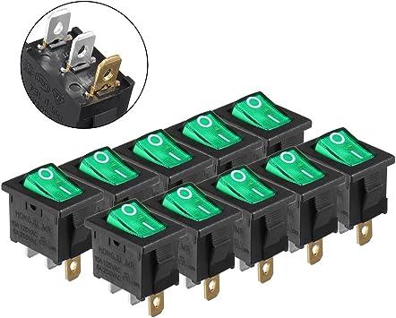 10A ON//Off 2P SPST Rocker Switch Latching 6A 125V 10Pcs AC 250V