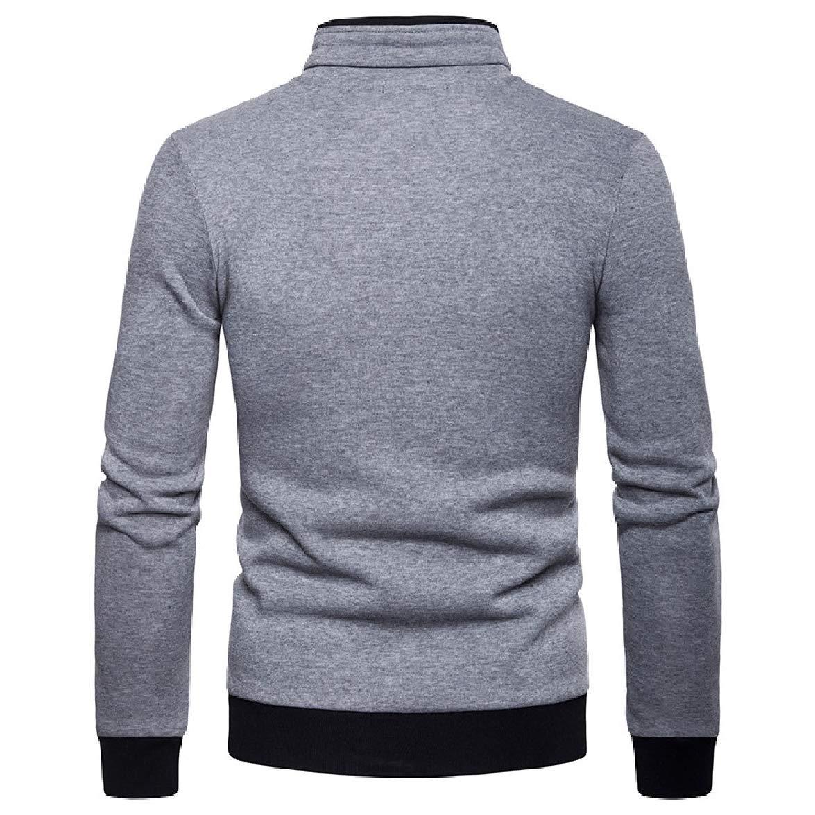 Abetteric Mens Plus Size Stand Collar Multi-Pocket Zipper Outwear Jackets Tracksuit Top