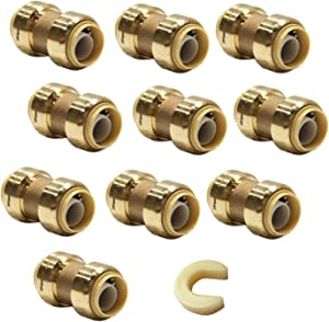 (Pack of 10) EFIELD Höger 1/2 Inch Straight Coupling Push-Fit Fitting to Connect Pex, Copper, CPVC, No-Lead Brass (10)