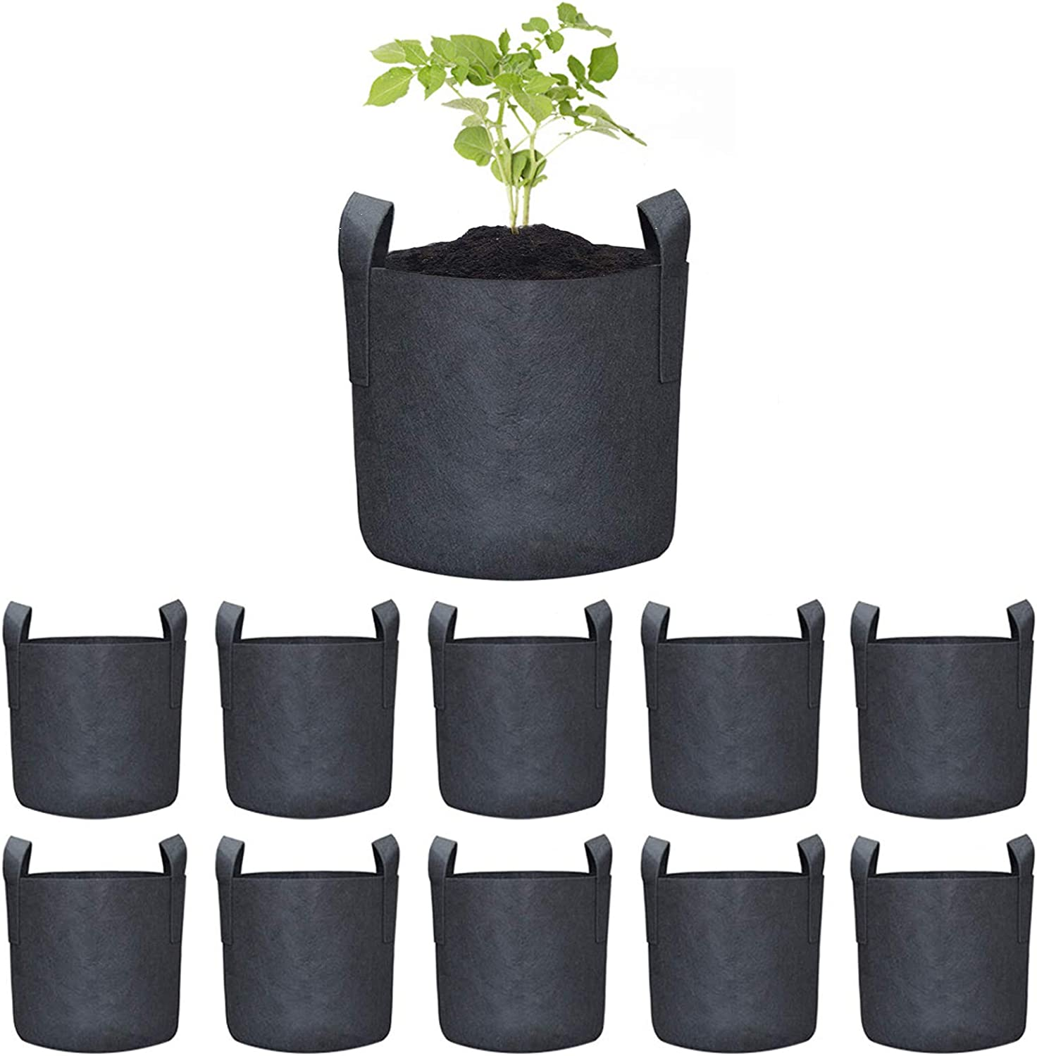 Permotary 10 Pack 1 Gallon Grow Bags for Plant Flower Vegetable Fruit Seedling Grow Bags,Thichkened Non-Woven Aeration Fabric Pots Container with Handles,Black