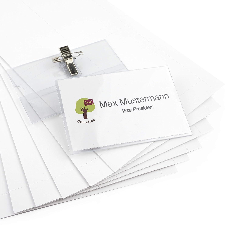 100 Targhette identificative professionali in plastica premium con clip e ago iLP GmbH