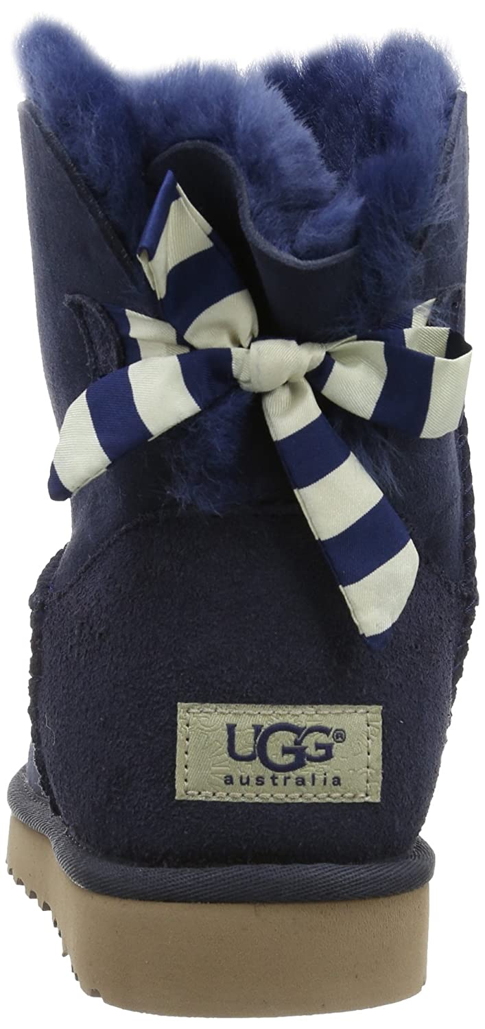 UGG Mini Bailey Bow Stripe Boots 1005304 Black   Boots