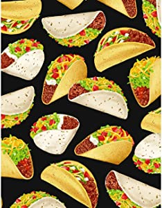 Timeless Treasures Taco Tuesday Tossed Tacos Black Fabric Fabric by the Yard