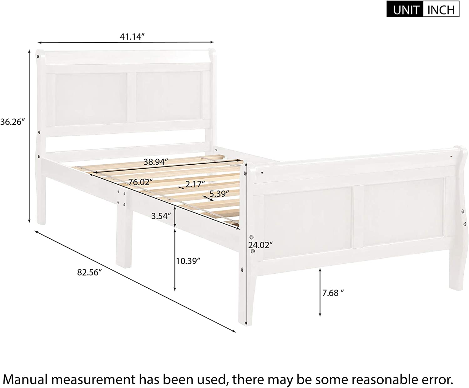 Wood Platform Bed Twin Bed Frame Mattress Foundation Sleigh Bed with Headboard Footboard Wood Slat Support
